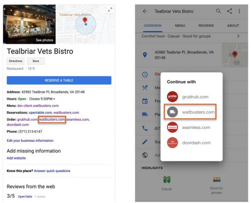 Waitbuster Dining Announces Online Ordering Integration with Google Search and Maps