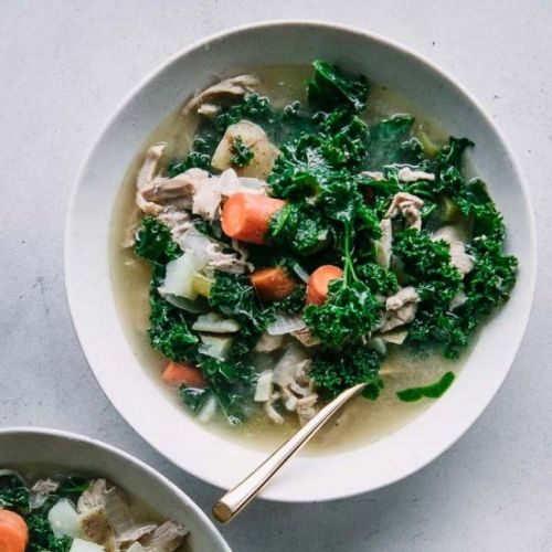 Pesto Chicken Kale Potato Soup