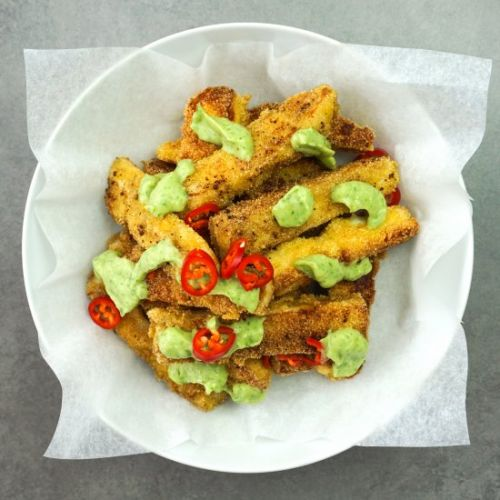 Halloumi Fries with an Avocado Dip