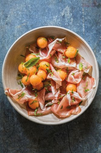 Pickled Melon with Prosciutto, Basil and Mint