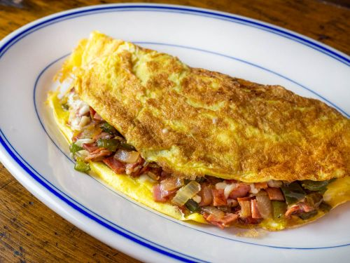 Western Omelette With Bell Pepper, Onion, Ham, and Cheese