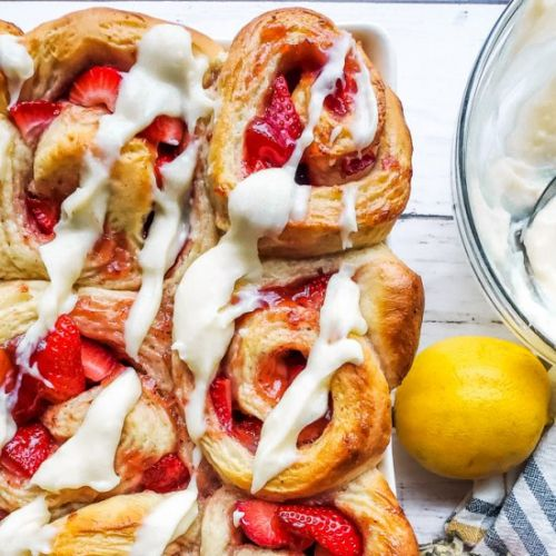 Strawberry Rolls with Lemon Icing
