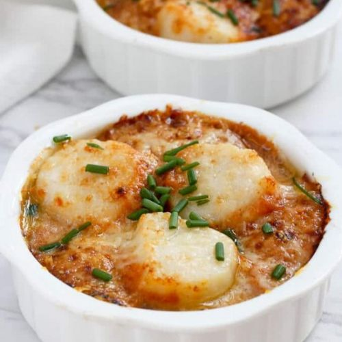 Broiled Scallop Gratin with Pumpkin
