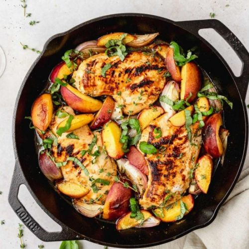 Roasted Chicken and Peaches
