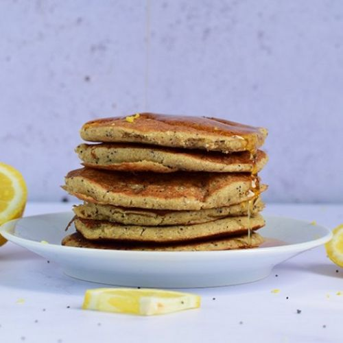Lemon Poppy Seed Vegan Pancakes