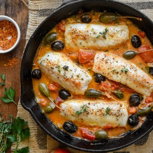 Cod Provençal with Capers & Olives