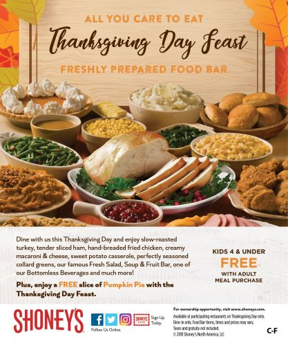Shoney's Doors Will be Wide Open on Thursday, November 22, for a Spectacular All You Care To Eat, Freshly Prepared Thanksgiving Day Feast!