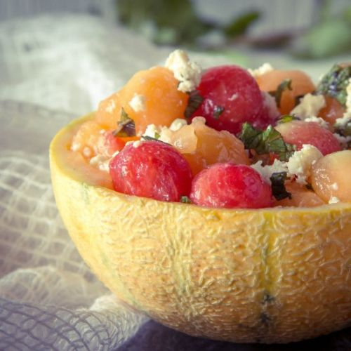 Frozen melon ball salad with cheese