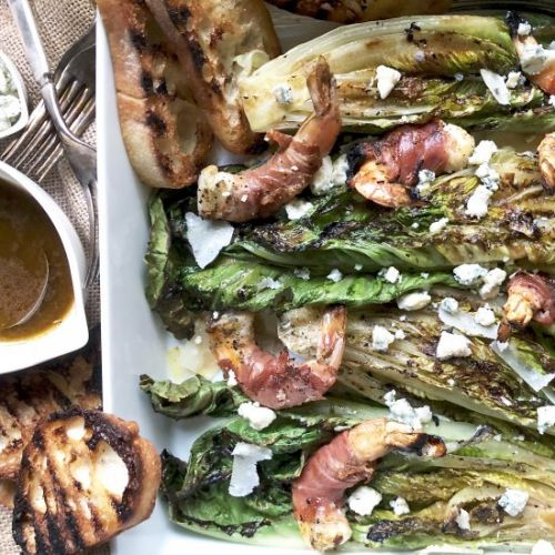 Grilled romaine with shrimp