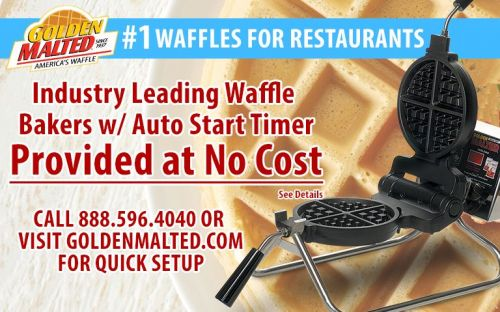 Waffle Irons Provided at No Cost - 1 Waffles for Restaurants - Only with Golden Malted