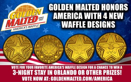 Golden Malted Honors America with 4 New Waffle Designs - Golden Malted is America's 1 Waffle