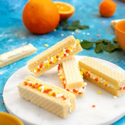 Orange Creamsicle Wafer Sandwiches