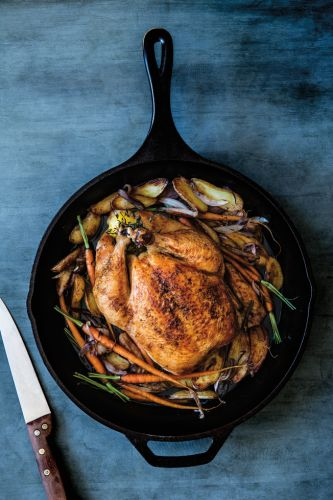 Roasted Chicken with Fingerling Potatoes and Carrots