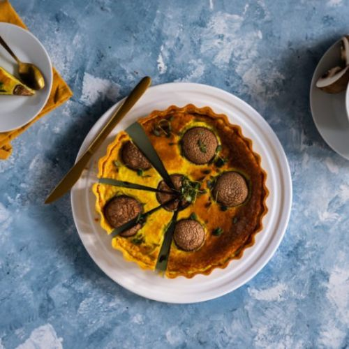 Quiche with mushrooms and parmesan