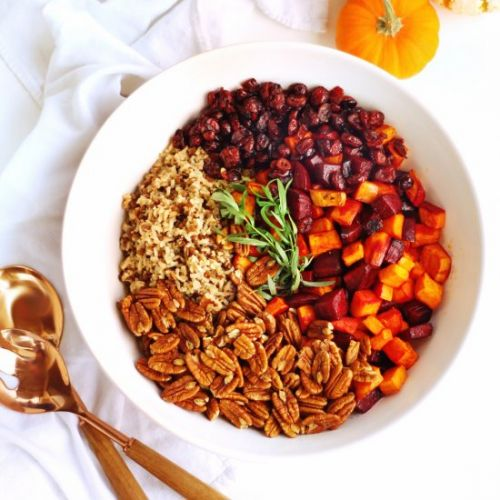 Sweet potato beet wild rice salad