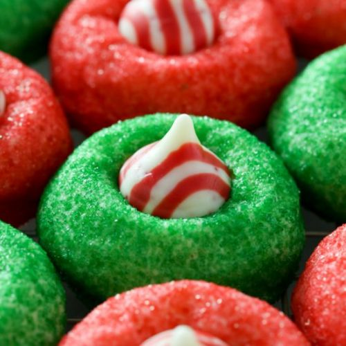 Candy Cane Peppermint Kiss Cookies