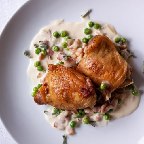 Chicken with Peas, Sage and Bacon